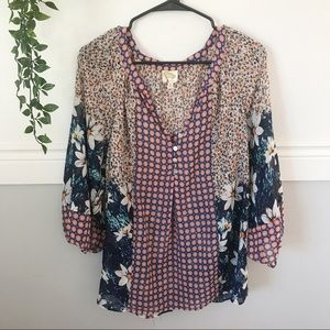 Anthro Fig & Flower Floral Print Blouse